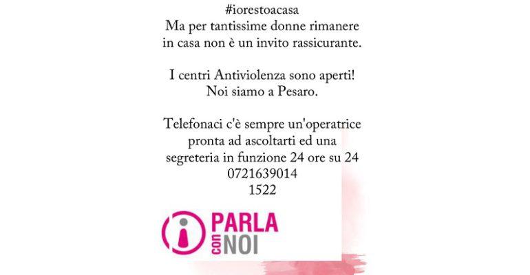 """""""Parla con noi"""", il Centro Antiviolenza della Provincia di Pesaro e Urbino è aperto."""